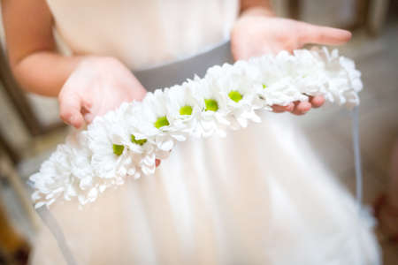 bridesmaid: little bridesmaid with bouquets Stock Photo