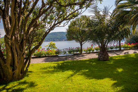 bella: Landscape with Island Bella, on Maggiore lake, Stresa, Italy