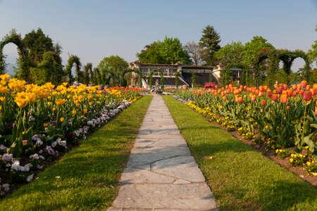 affluence: Garden of Villa Pallavicino at Stresa on Lake Maggiore, Piedmont, Italy 17 April 2015