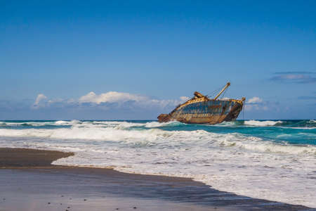 ship wreck: wreck of fomer ship American Star off the coast of Fuerteventura