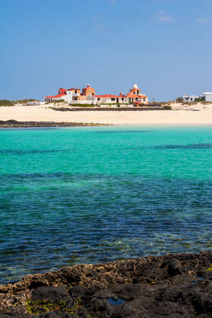 azure: Del Castillo Beach of El Cotillo on Fuerteventura . Canary Island. Spain