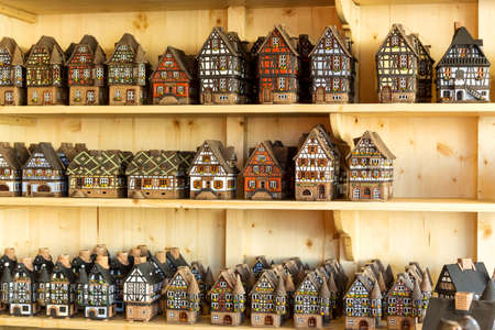christmas market: Traditional alsatian houses on the Christmas market