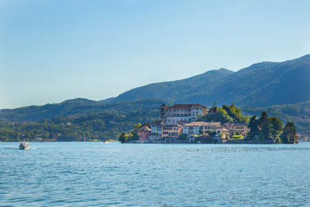 orta: View of San Giulio island on Orta lake, Piedmont, Italy Stock Photo