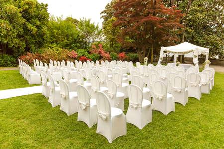 beautiful decoration wedding ceremony outdoor Stock Photo