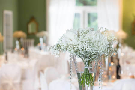 formal dinner party: Fancy table set for a wedding dinner Stock Photo