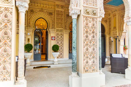 orta: Lake Orta, Piedmont Italy 19 July 2016. Exclusive Hotel Villa Crespi at Orta San Giulio.