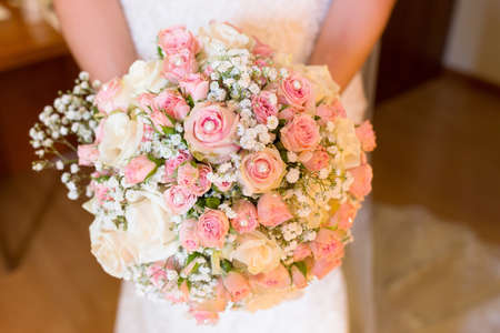 beautiful bouquet of white roses for wedding day Stock Photo