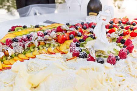 sweet wedding cake with fresh berries