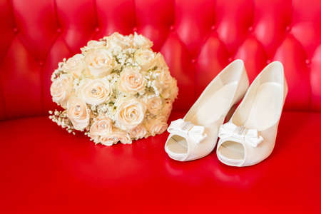 beautiful white shoes from bride Stock Photo