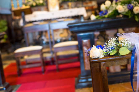 Beautiful flowers wedding decoration in a church Stock Photo