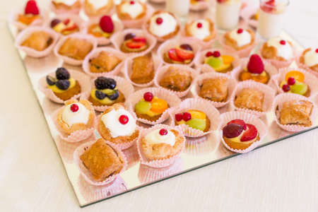 Delicious mini desserts with fresh berries