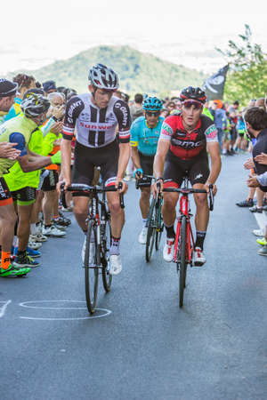 aerodynamic: OROPA, ITALY - MAY 20, 2017: Cyclists participate in the 14° stage of the Giro dItalia near the arrival at Oropa, the 100th edition of Giro dItalia. Tour of Italy.