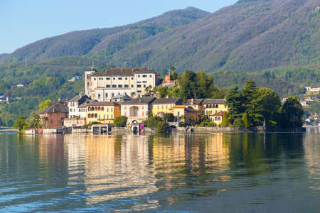 View of San Giulio island at Lake Orta, Piedmont, Italy