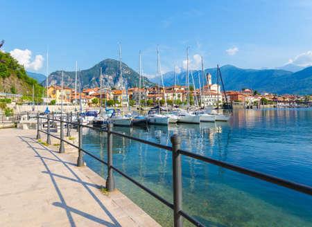The small village of Feriolo near Baveno, its harbor, located on Lake Maggiore, Piedmont, Italy.