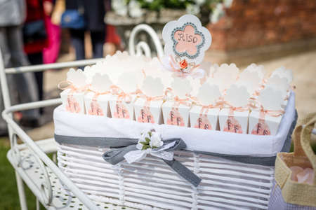 Beautiful basket and wedding confetti