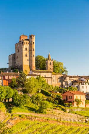 Serralunga d'Alba castle, medieval village in Piedmont,  north Italy