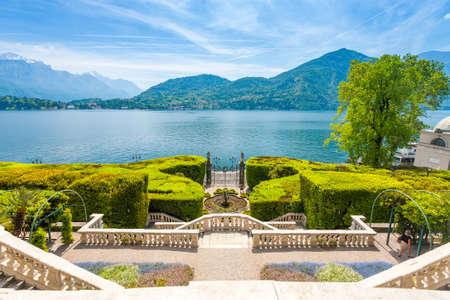 Facade of Villa Carlotta  at Tremezzo on lake Como Italy. 스톡 콘텐츠