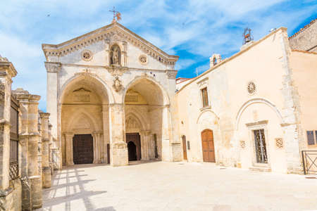View of main facade of Saint Michael Archangel Sanctuary at Monte SantAngelo, in Apulia region,  Italy.