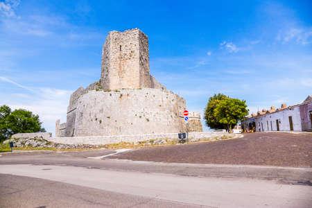 View castle in  Monte SantAngelo town,  old village, in Apulia region, Italy.