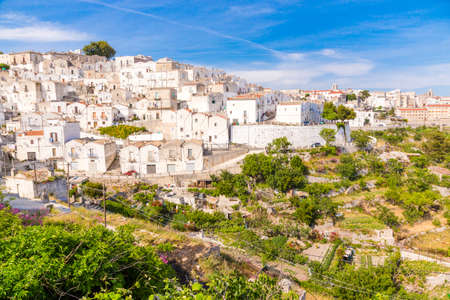 View of Monte SantAngelo town,  old village, in Apulia region, Italy. Stock Photo