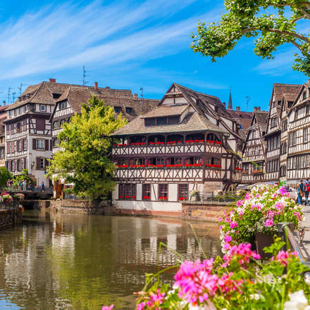 22 June 2012. Traditional half-timbered houses in district of the Petite France, Strasbourg, Alsace, France