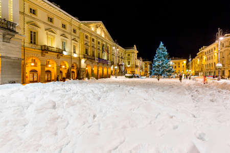 AOSTA, ITALY -  12 December 2017 .Chanoux Square and Town Hall in center of Aosta, at Christmas time.