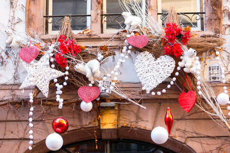 Colorful decorations on the Christmas market in Strasbourg Stock Photo