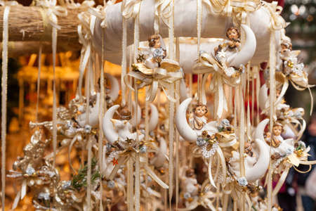 Colorful decorations on the Christmas market in Strasbourg, Alsace, France. Stock Photo