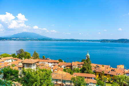 The little village of Belgirate along the lakeside of lake Maggiore, Italy.