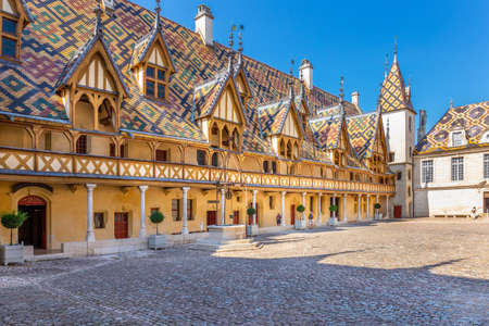 19 September 2019. View of Hotel Dieu or Hospice de Beaune, in Burgundy region, France