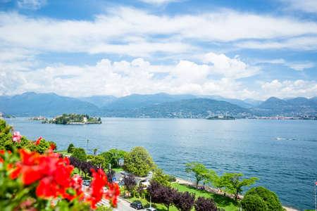 Landscape with Island Bella  on Lake Maggiore , Lombardy, Stresa, Italy