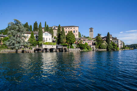 Lake Orta with the island of San Giulio, Piedmont, Italy