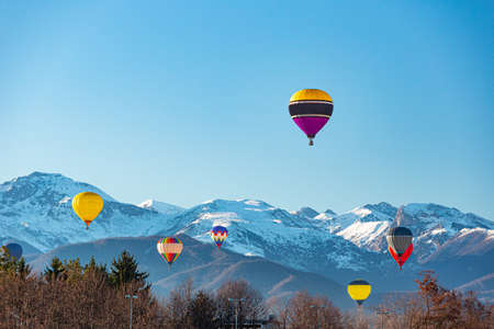 6 January 2019. Multi colored hot air balloon at Mondov?, Piedmont, Italy.