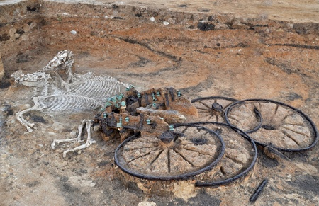 Ancient thracian chariot with two horses, as a part of nobel man Stock Photo
