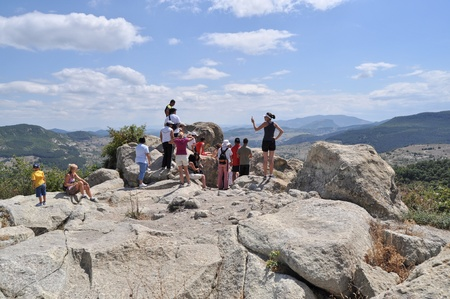 Tourists at the ruins of the ancient Thracian city of Perperikon, summer 2010 Editorial
