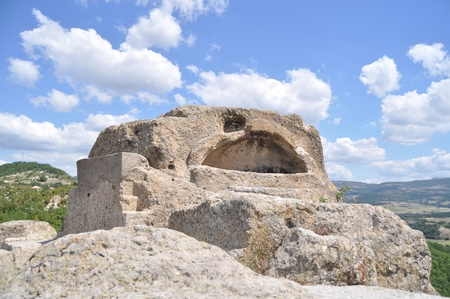 ancient Thracian surface tomb of an important Thracian leader and sanctuary linked with the cult of Orpheus.  Stock Photo