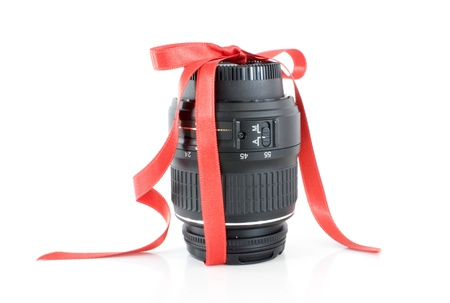 Lens wrapped with ribbon as a present