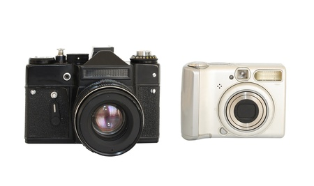 Two photocameras - vintage and modern Stock Photo