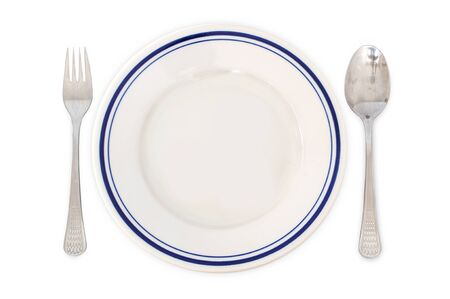 Simple arrangement for dinner - plate, fork and spoon