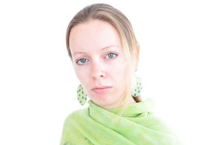 young woman with green scarf photo