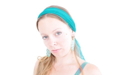 hairband: young woman with teal hairband