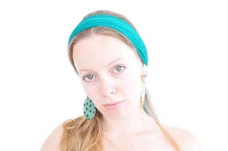 young woman with teal headband photo