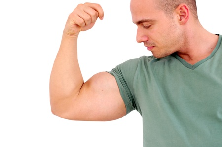 young caucasian man with muscles  Stock Photo