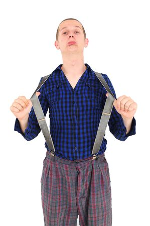 Crazy nerdy man with funny clothes puling his braces Stock Photo - 12131204