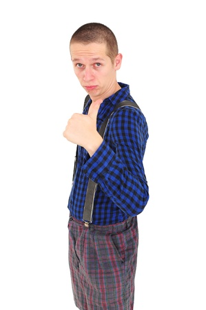 Young goofy man with funny clothes showing thumbs up photo