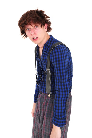 Young goofy man in funny clothing looking miserable photo
