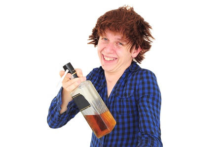 Funny smiling drunk man holding bottle of whiskey and cigarette Stock Photo - 12131189