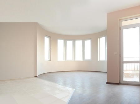unfurnished: Empty newly painted room in a new constructed building