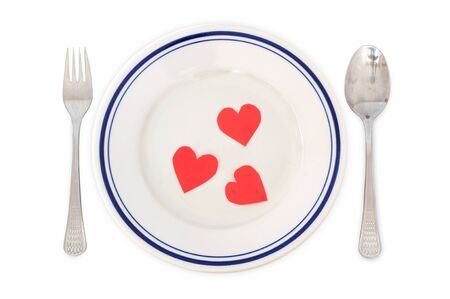 Concept of love - arrangement for dinner with heart shapes in the plate Stock Photo - 12131092
