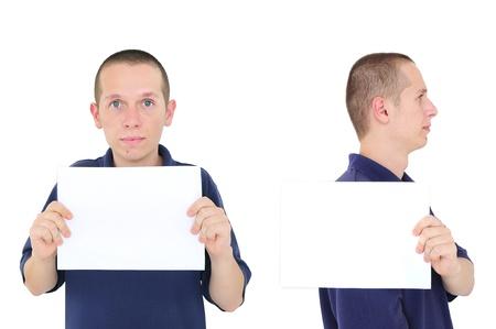 Mugshot of young man, holding white board photo